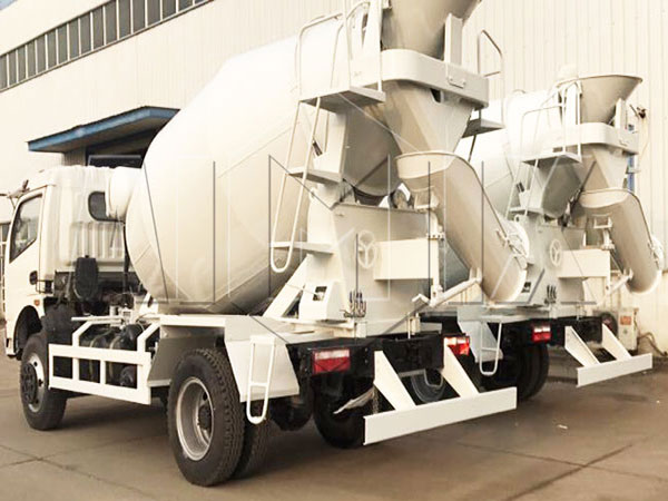 two sets mixer trucks