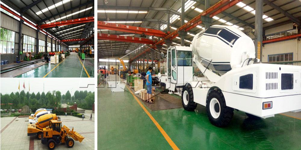 Aimix self loading concrete mixer truck workshop
