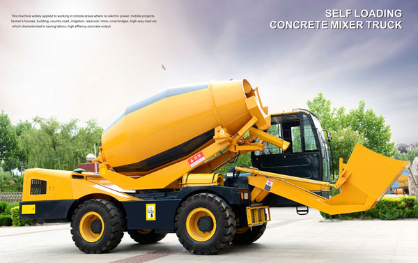 3.5 cub self loading concrete mixer truck